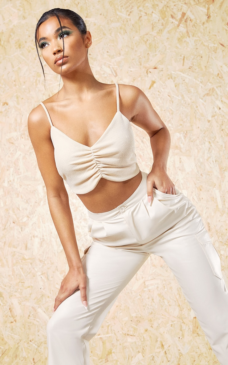 Cream Recycled Wide Rib Ruched Bralet