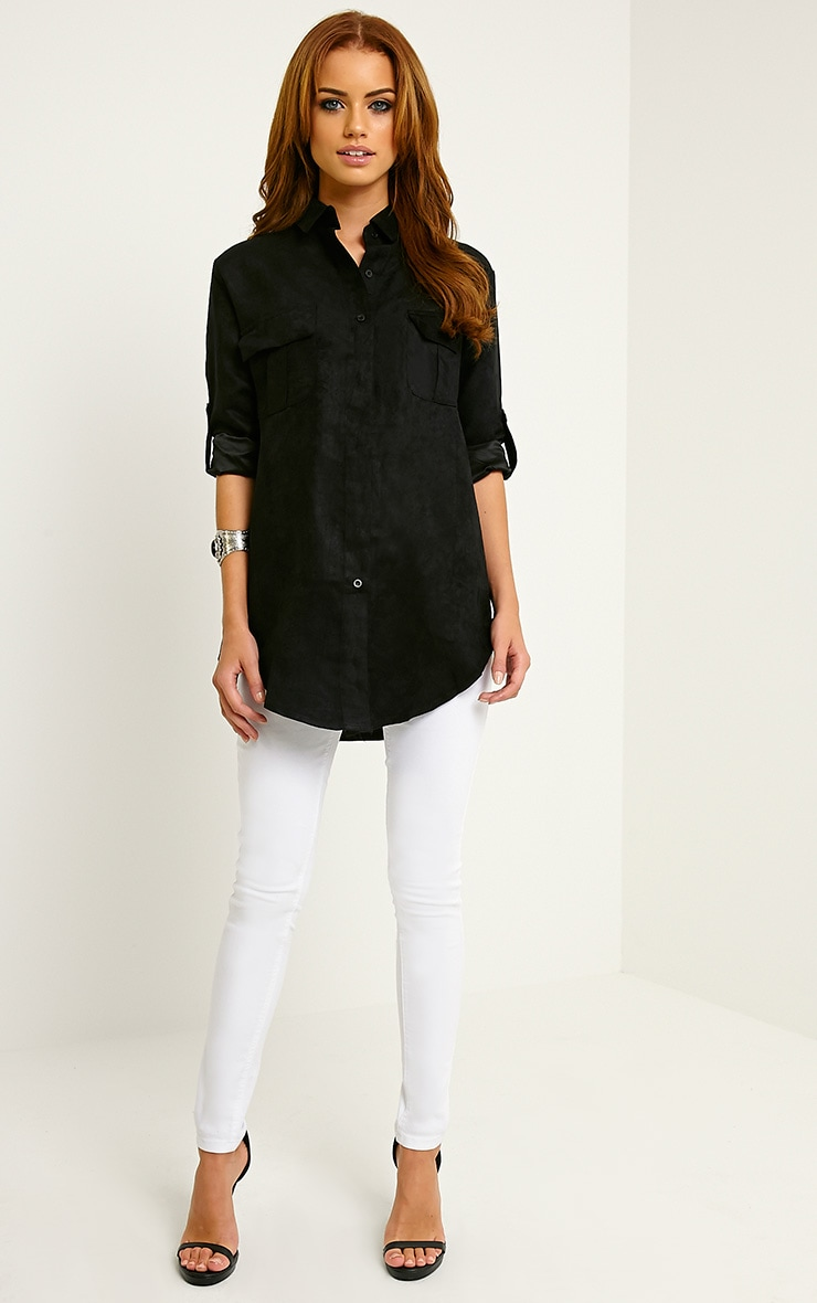 Blithe Black Faux Suede Oversized Shirt 3