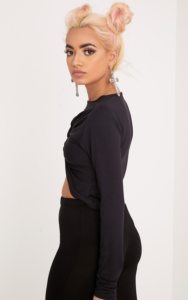 Robyn Black Knot Front Longsleeve Crop Top 2