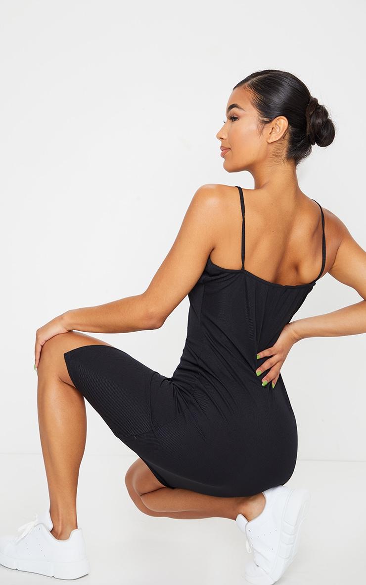 Black Strappy Popper Split Detail Midi Dress 2
