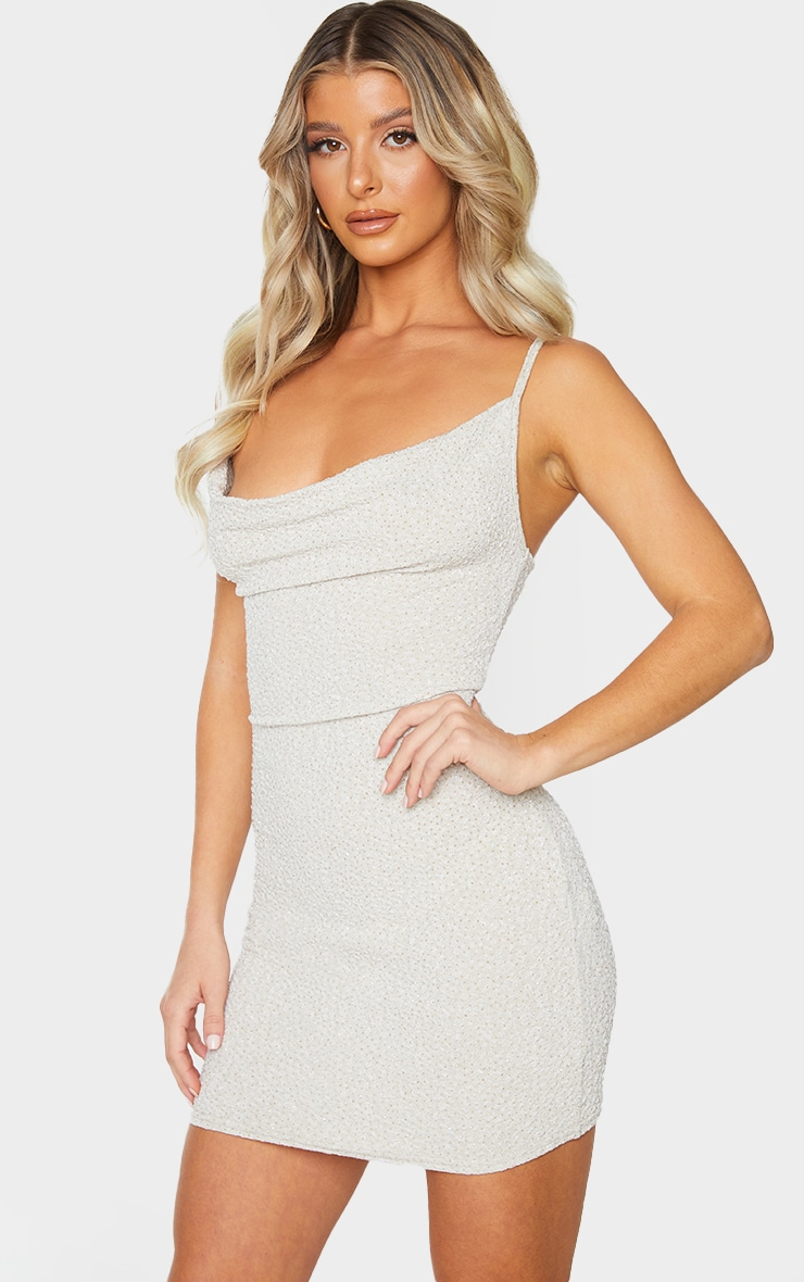 Nude Textured Glitter Strappy Cowl Neck Bodycon Dress 1