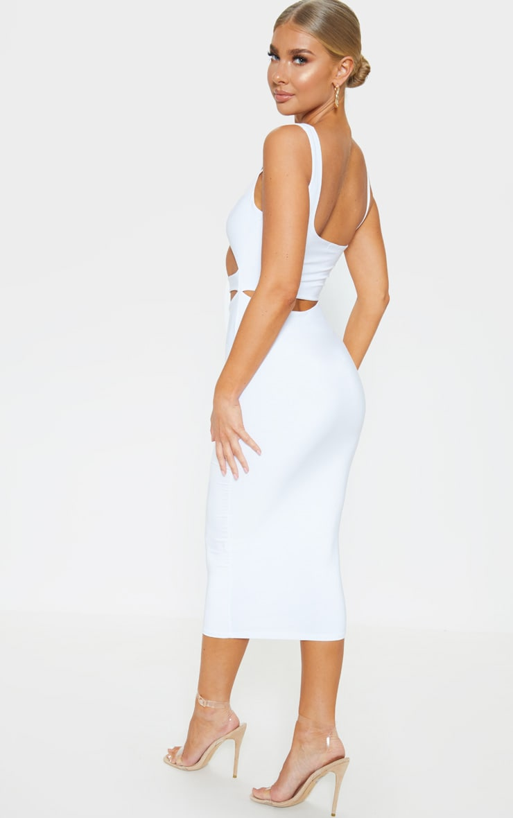 White Slinky Cut Out Detail Midi Dress 2