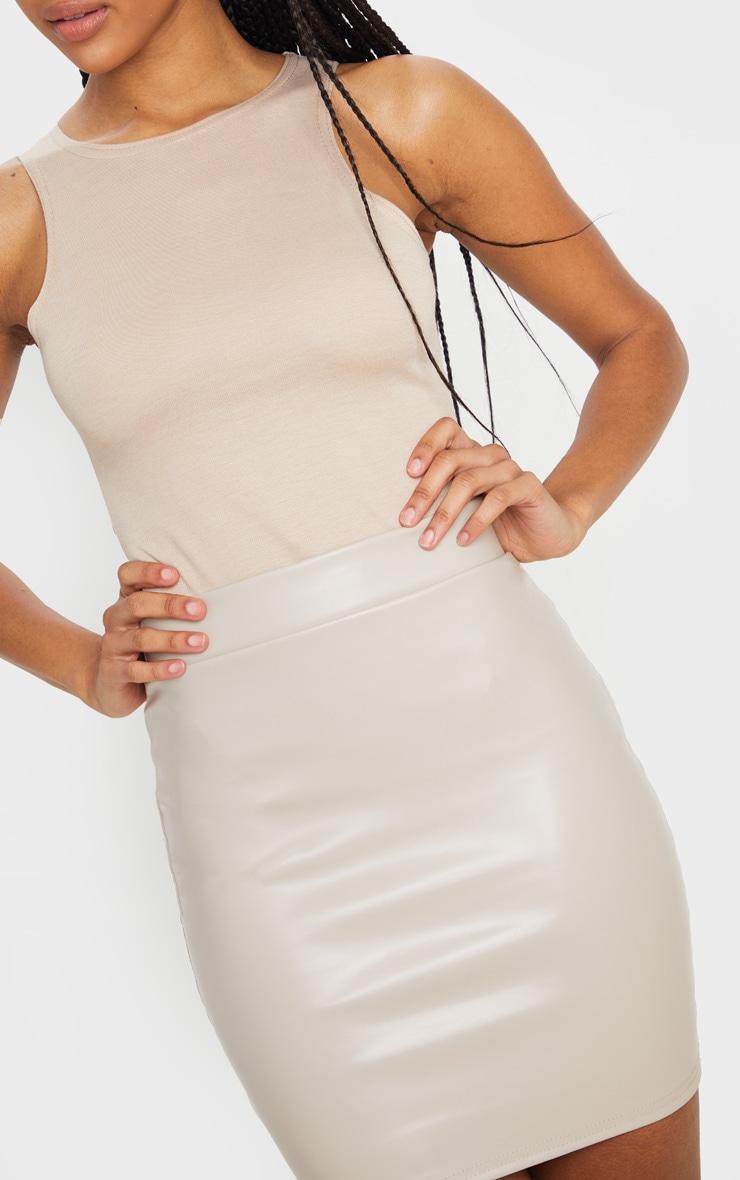Stone Basic Faux Leather Mini Skirt 6