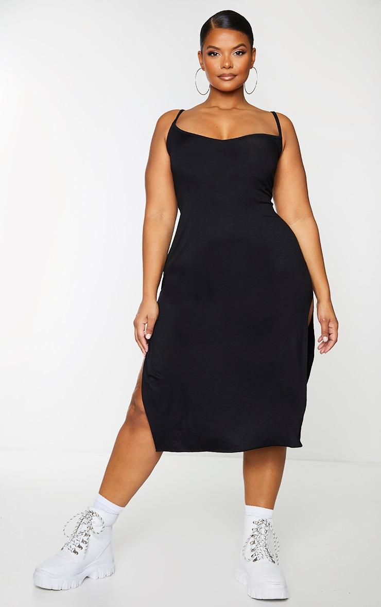 Plus Black Jersey Split Midi Dress 1
