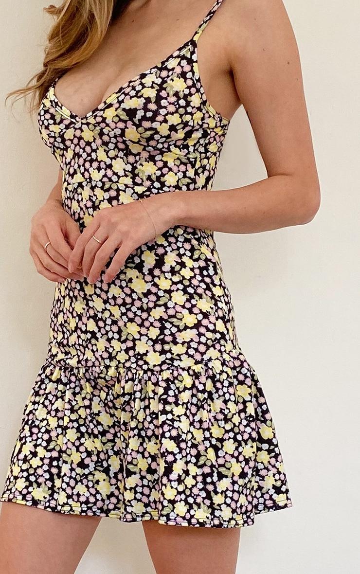 Multi Floral Print Frill Hem Strappy Shift Dress 4
