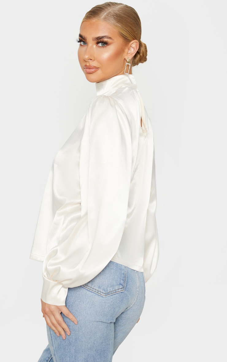 Champagne Satin High Neck Puff Sleeve Top 2