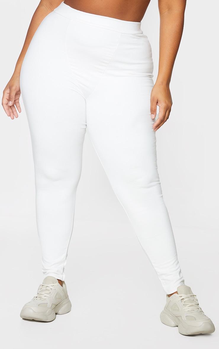 Plus Cream Cotton Seam Detail Leggings 2