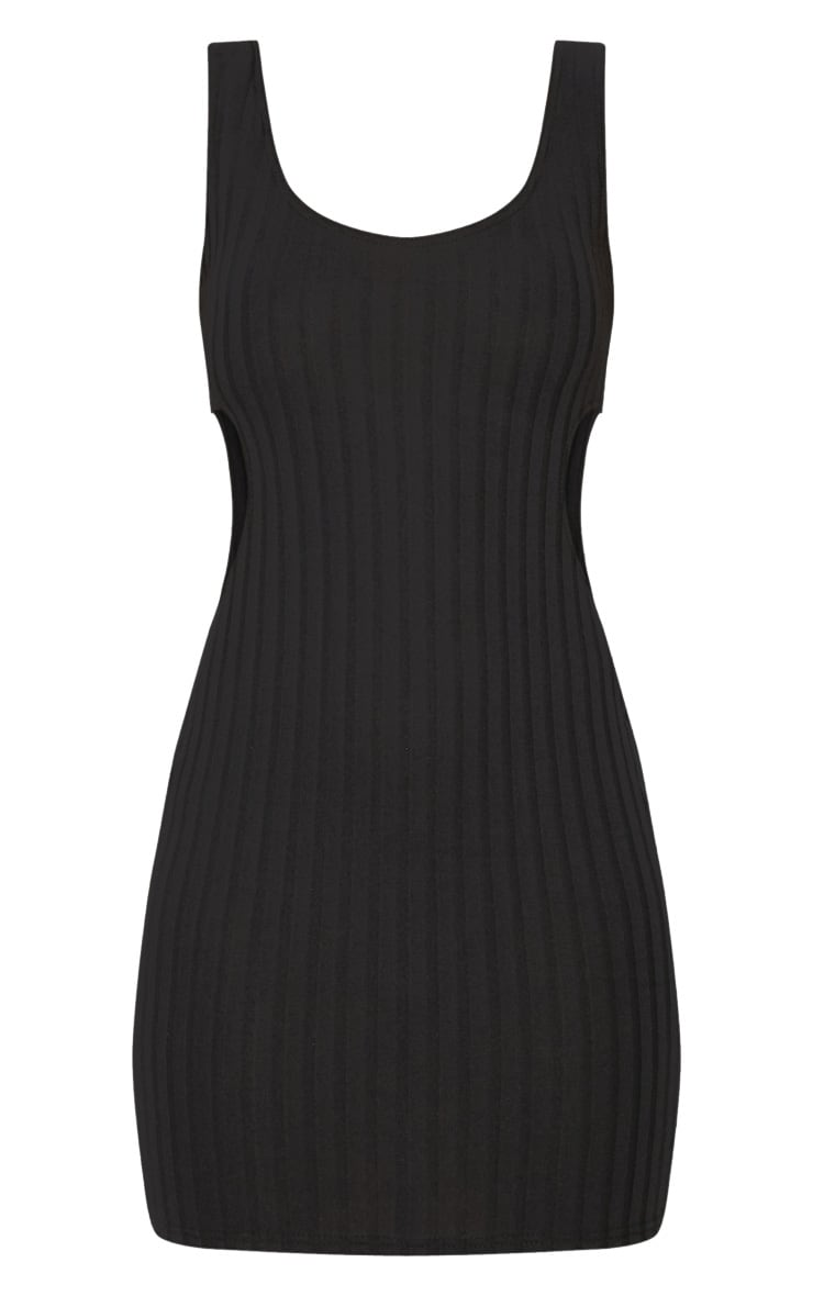 Black Ribbed Cut Out Bodycon Dress 3