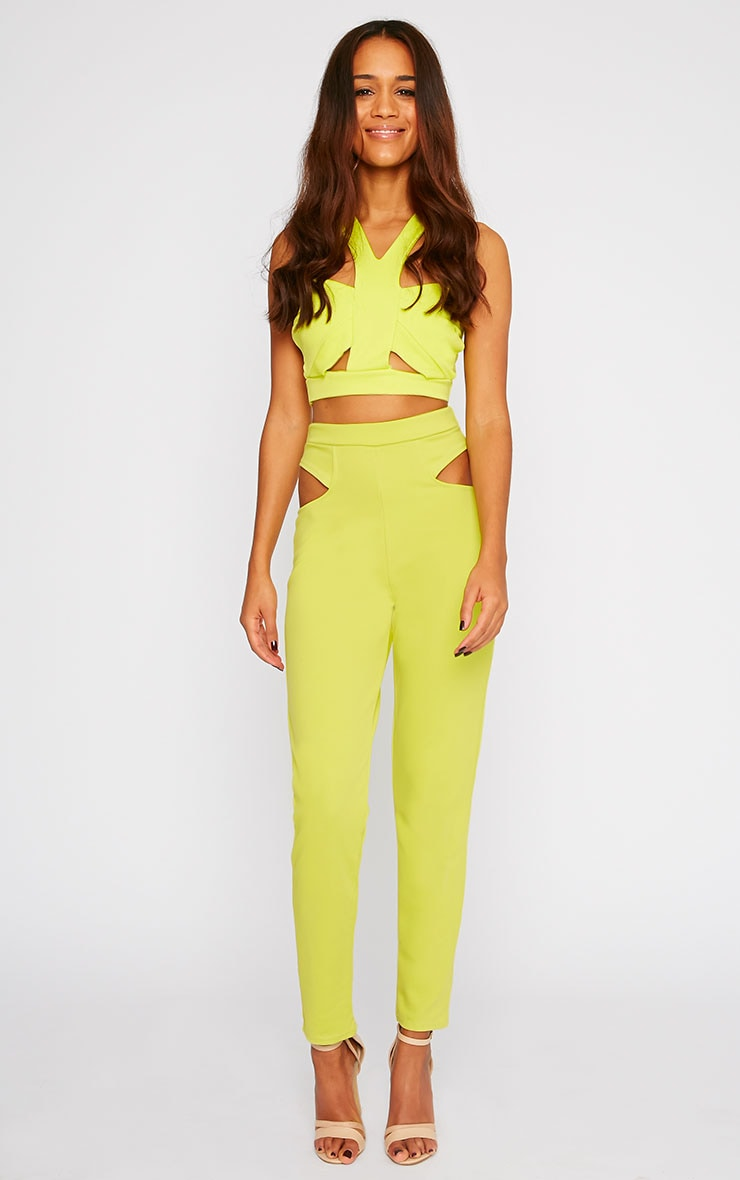 Zaylia Lime Cut Out Detail Trousers 4