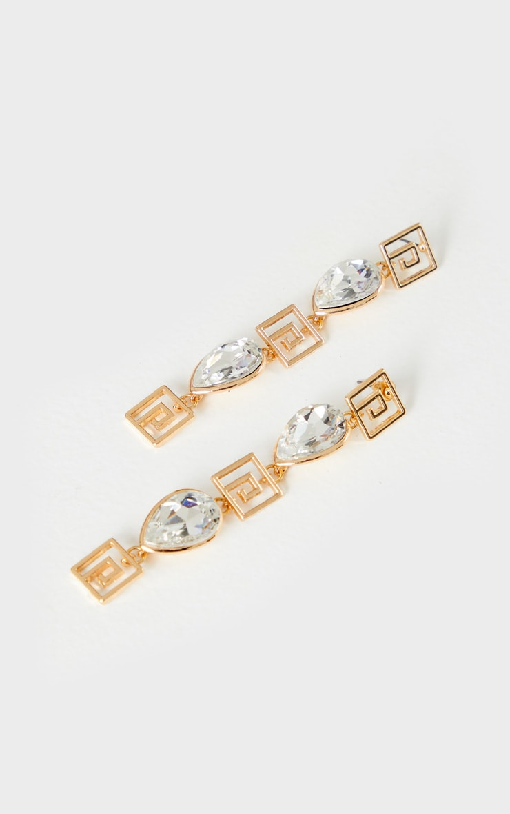 Gold Diamante Square Tassel Earrings 2