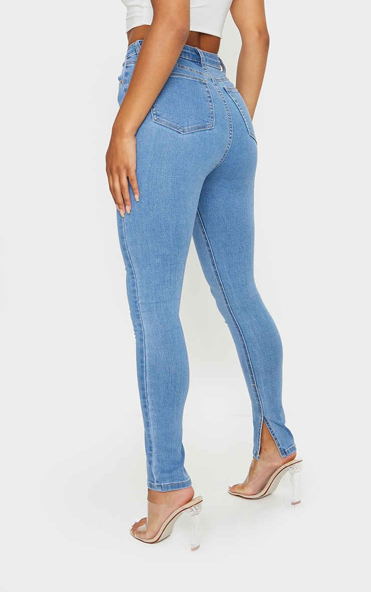 Light Blue Wash Side Split Hem Skinny Jeans 3