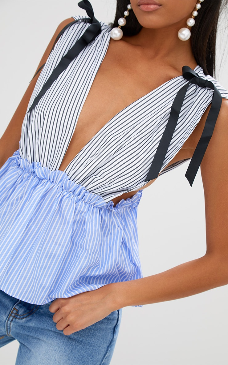 White Contrast Stripe Tie Shoulder Frill Plunge Top 5