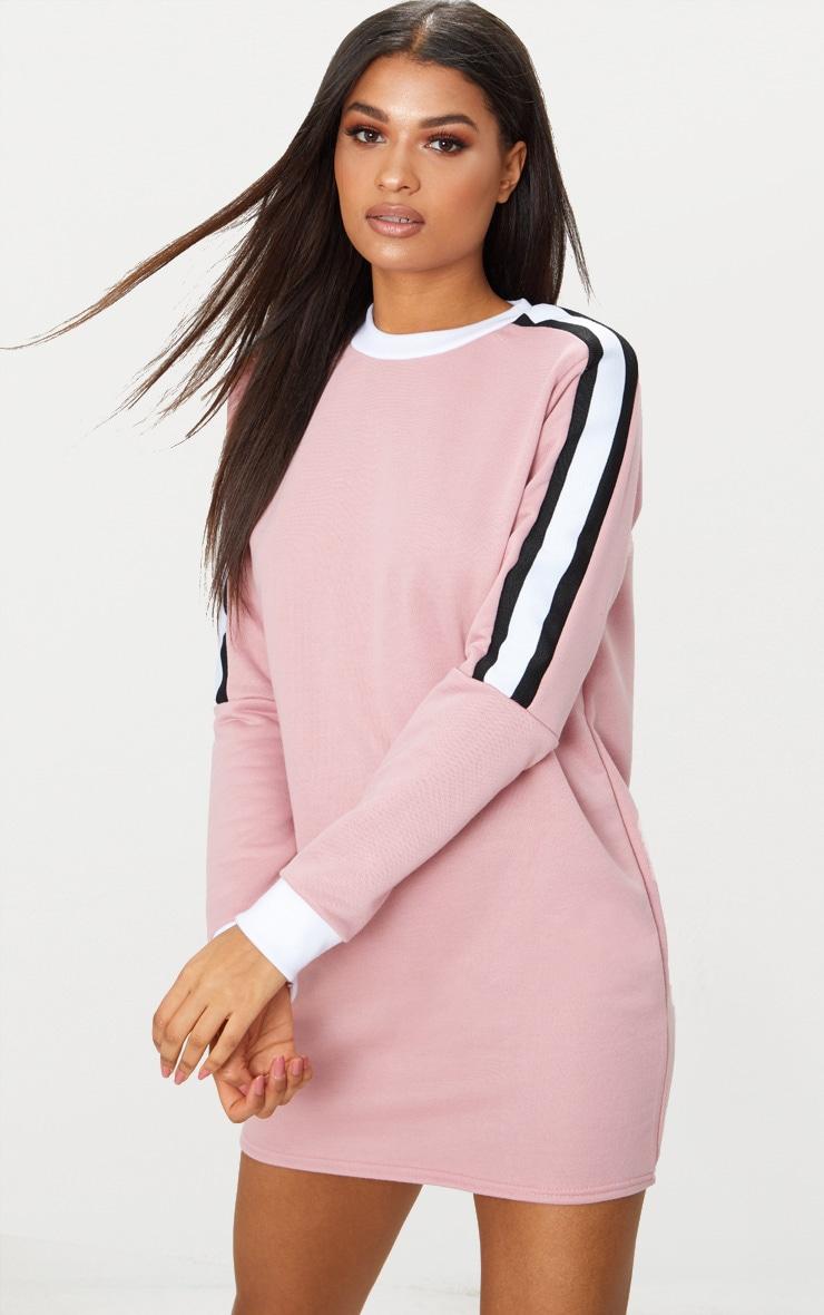 Pale Pink Sport Stripe Long Sleeve Jumper Dress 1
