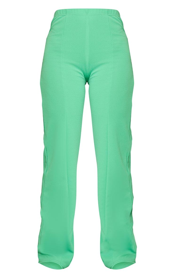 Bright Green Crepe Seam Front Wide Leg Pants 5