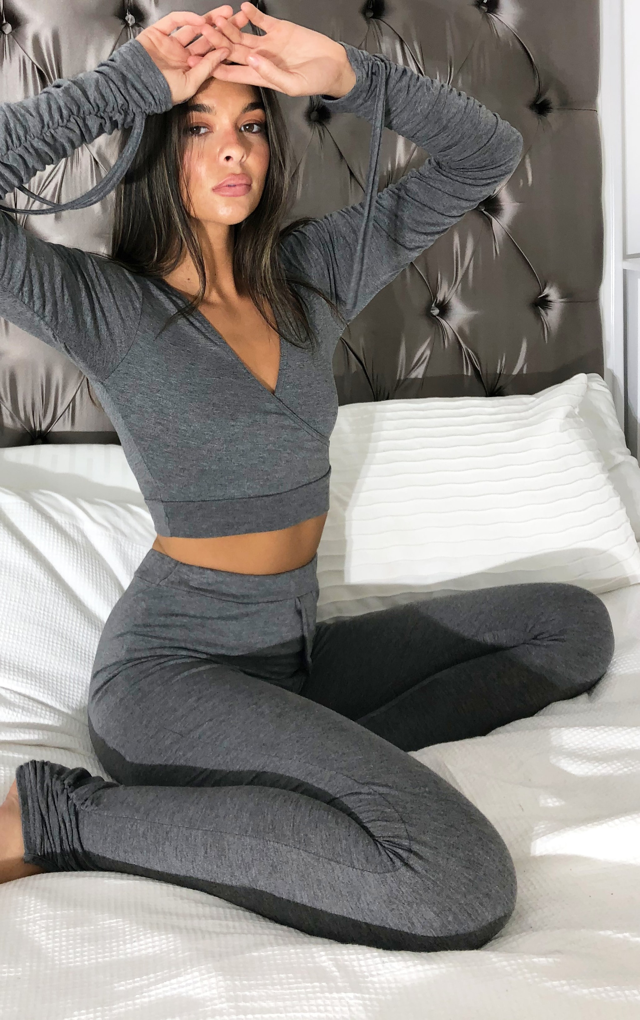 Charcoal Grey Wrap Front Ruched Long Sleeved Crop Top 1