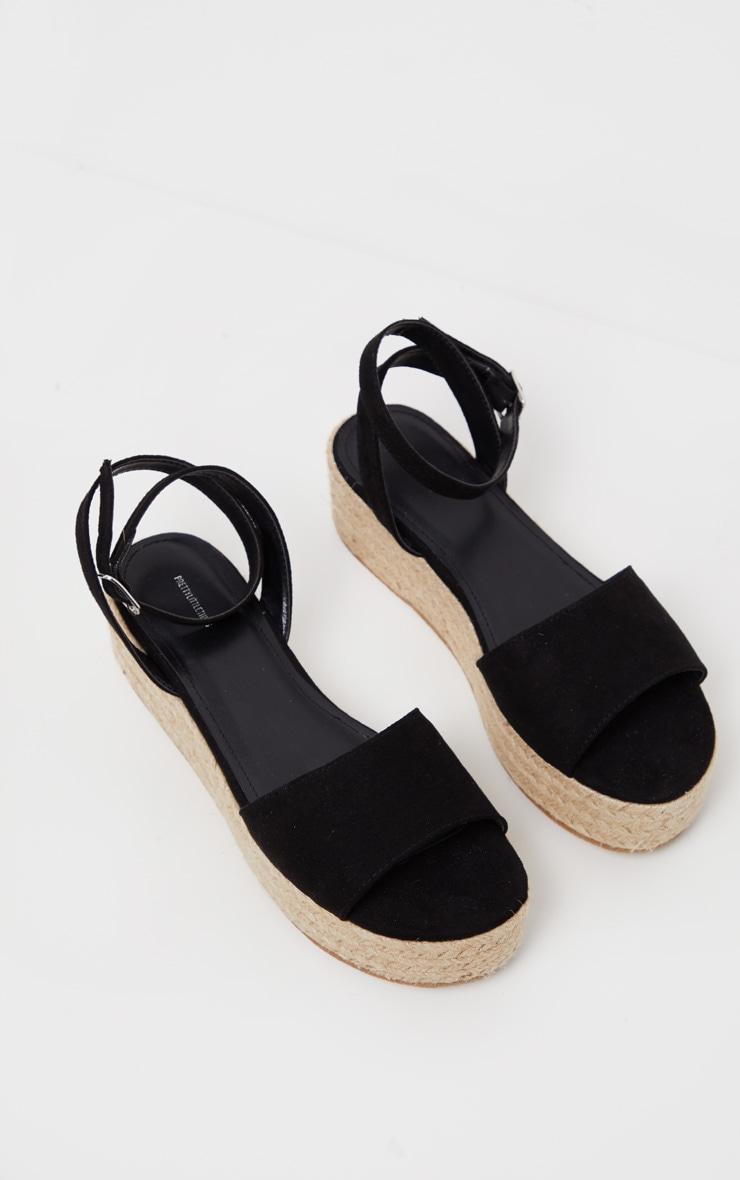 Black Espadrille Flatform Sandal 4