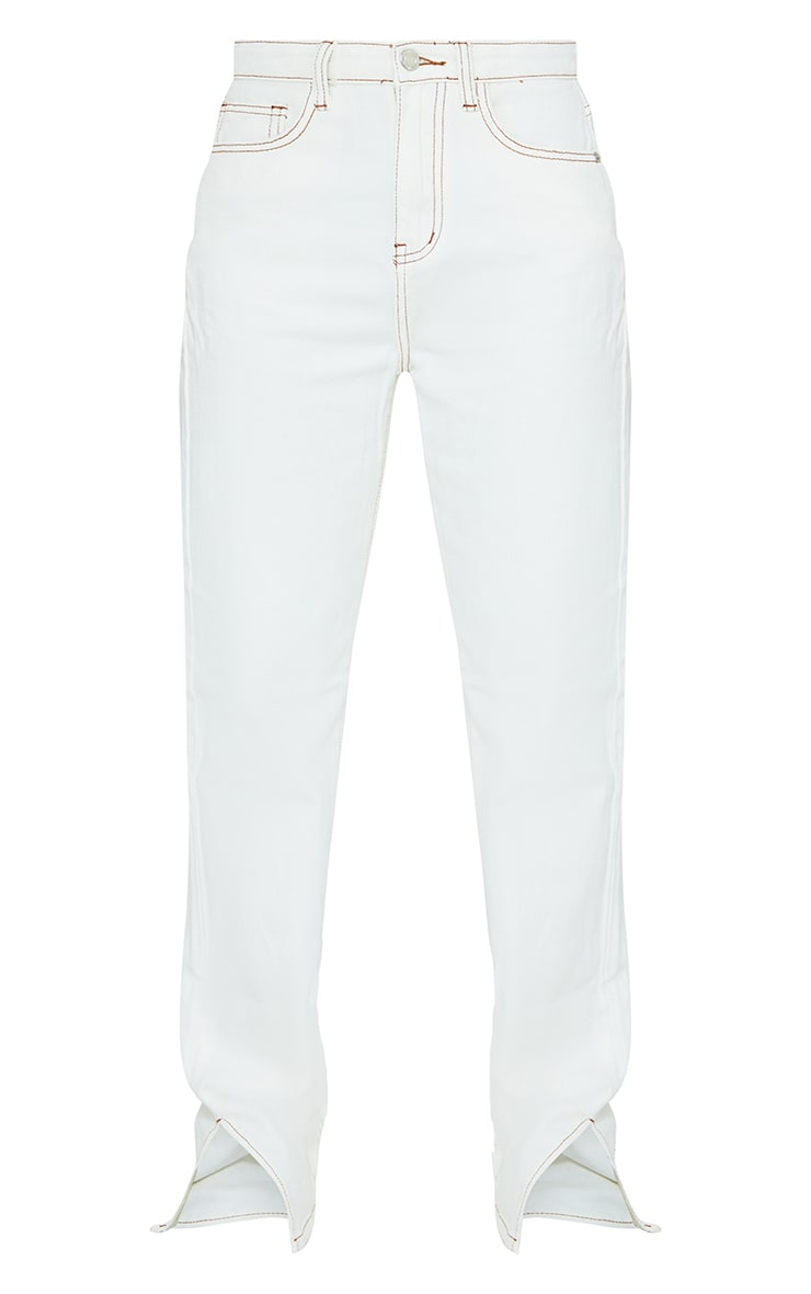 Ecru Contrast Stitch Split Hem Straight Leg Jeans 5