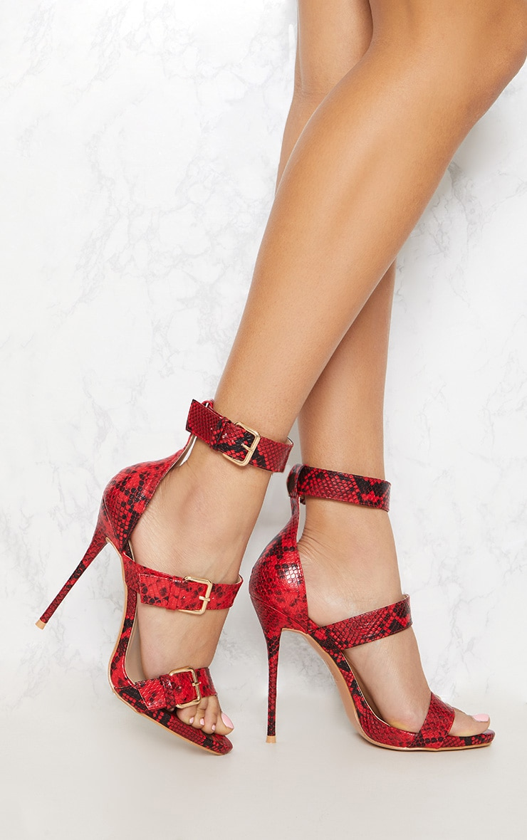 Red Snake Triple Buckle Strappy Heel