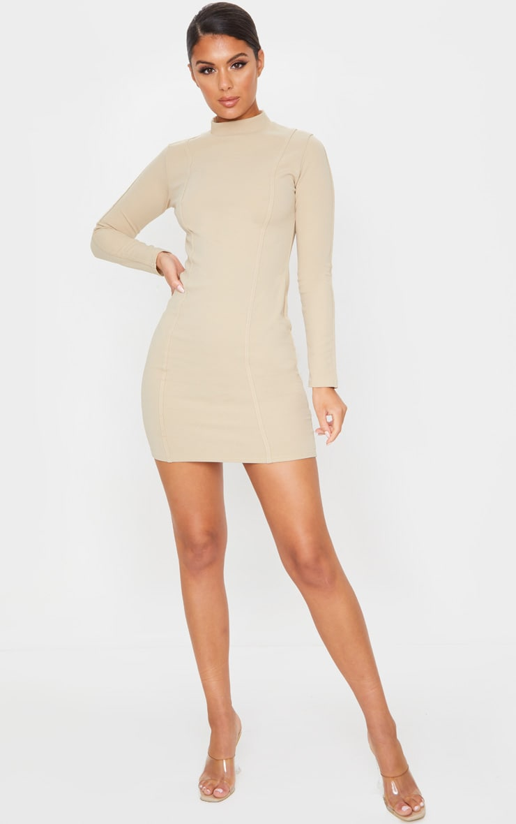 Stone High Neck Long Sleeve Binding Detail Bodycon Dress 3