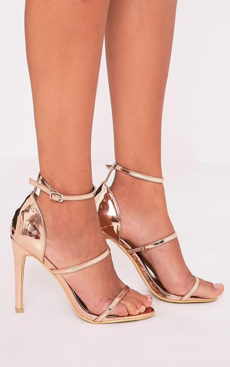 Amelia Rose Gold Strappy Heeled Sandal 1