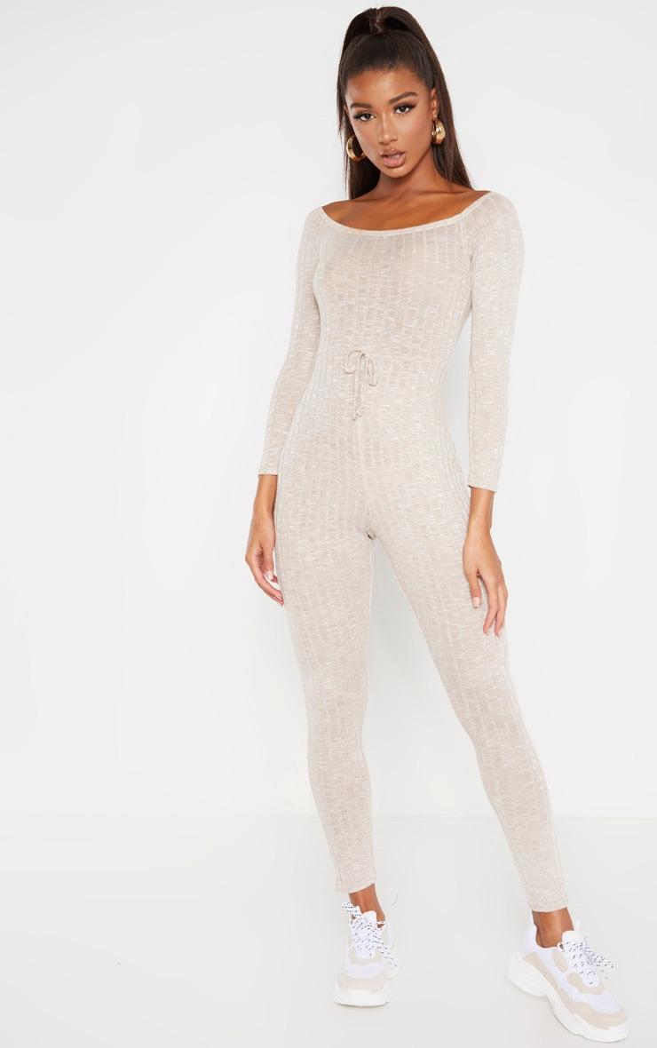 Oatmeal Rib Knitted Bardot Jumpsuit 4