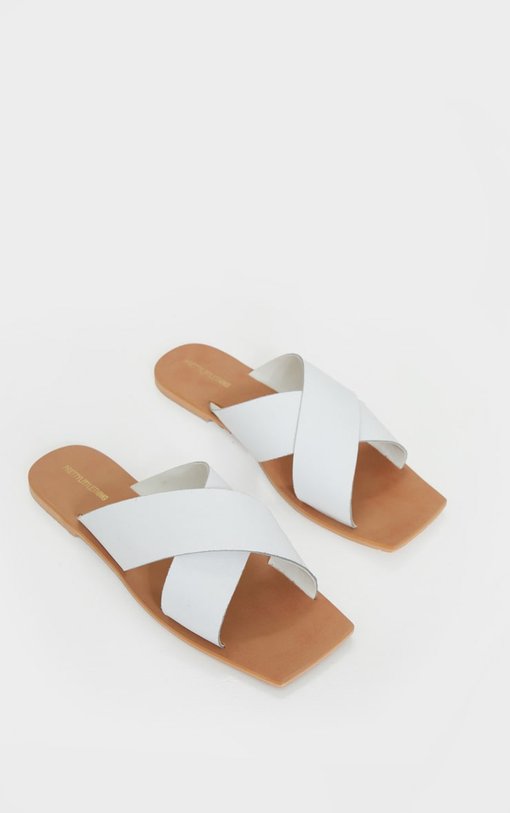 White Square Toe Leather Cross Over Strap Leather Mule Sandals 3