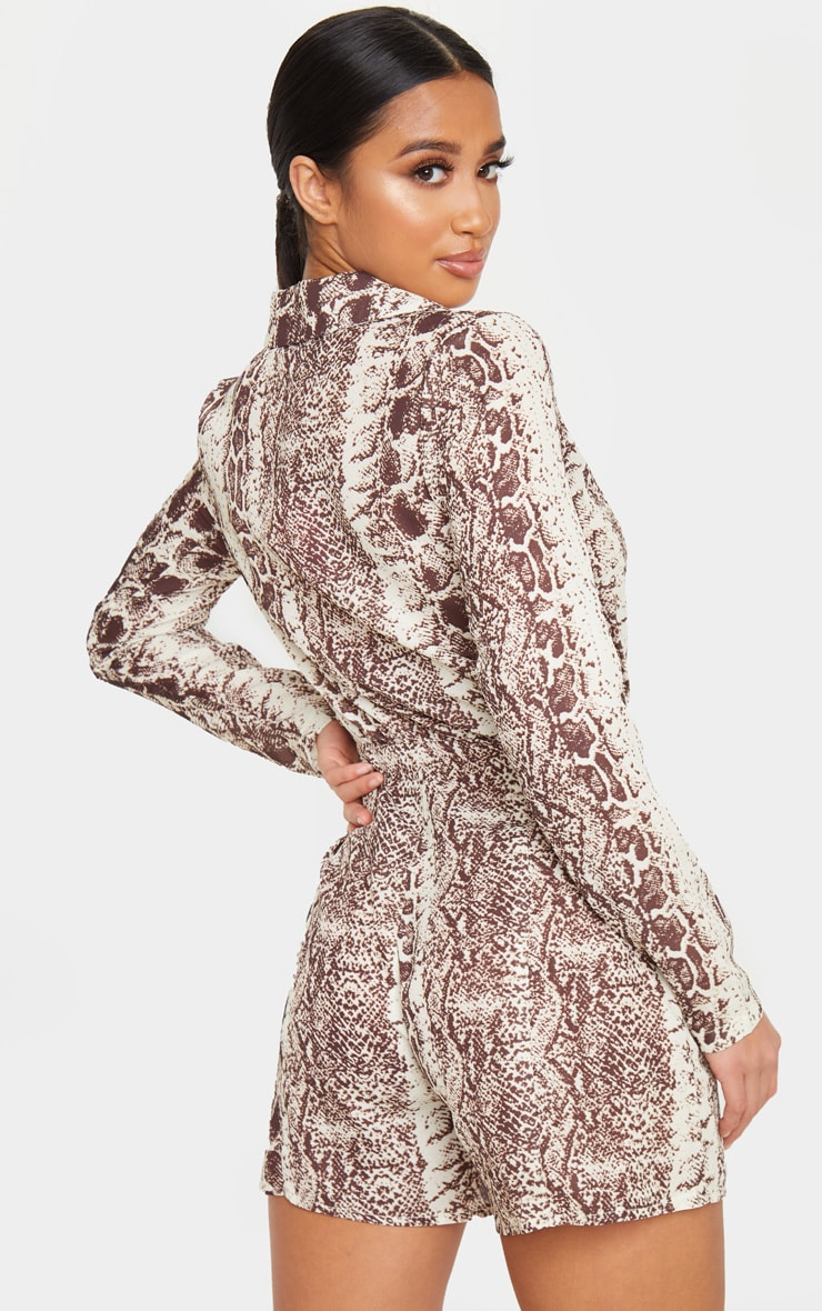 Petite Taupe Snake Print Button Front Long Sleeve Satin Playsuit 2
