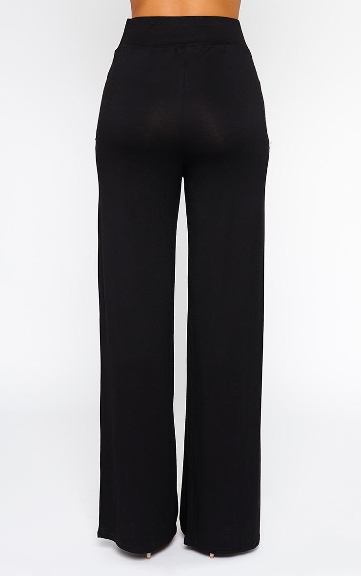 Jazlyn Black Jersey Wide Leg Palazzo Trousers 4