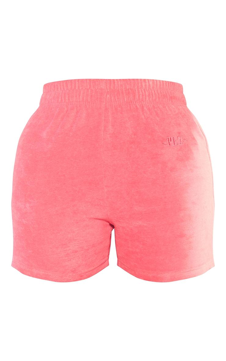 PRETTYLITTLETHING Shape Pink Velour Shorts 6