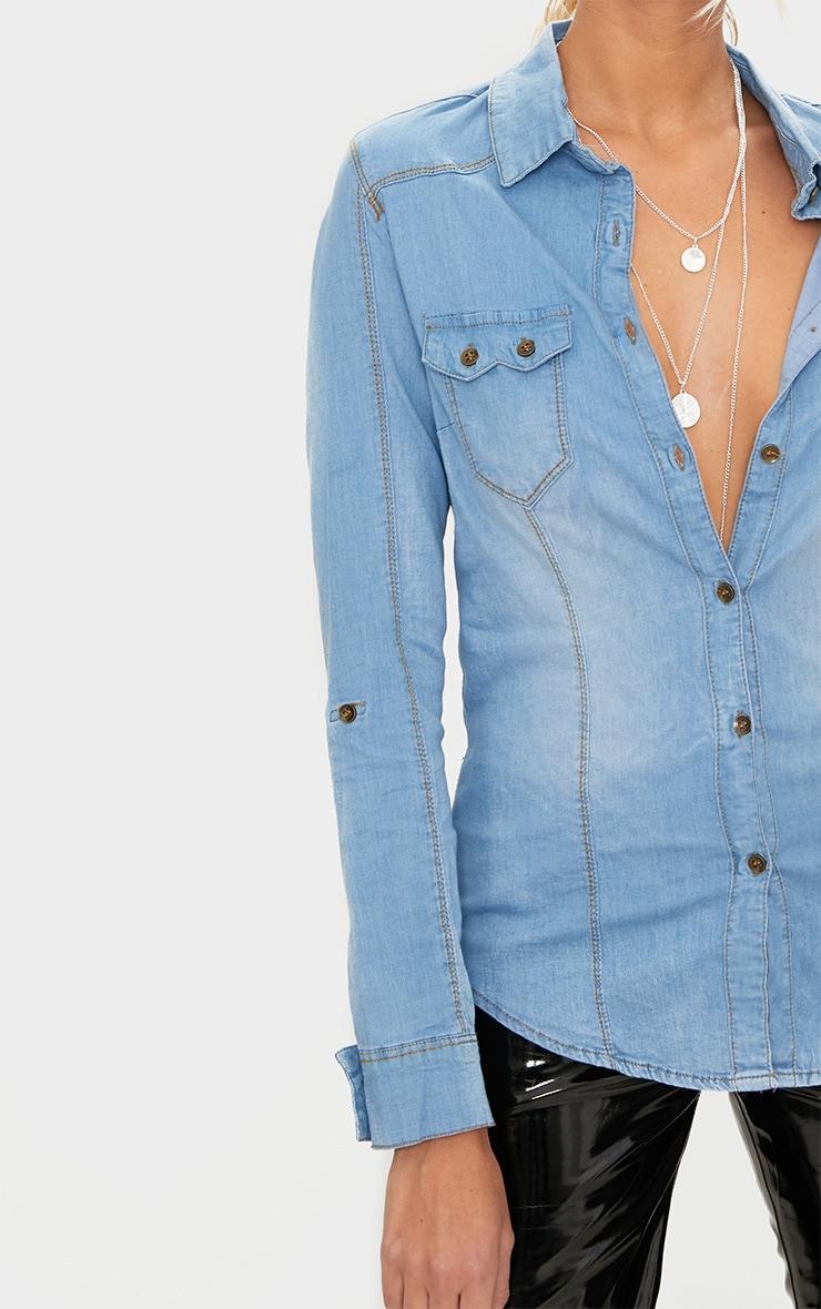 Mid Wash Pocket Detail Denim Shirt 5