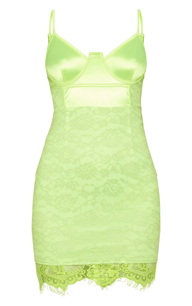 Lime Satin Top Bustier Lace Bodycon Dress 3