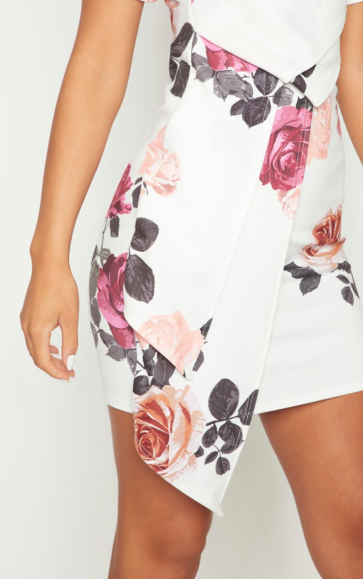 White Floral High Neck Pleated Detail Shift Dress 5