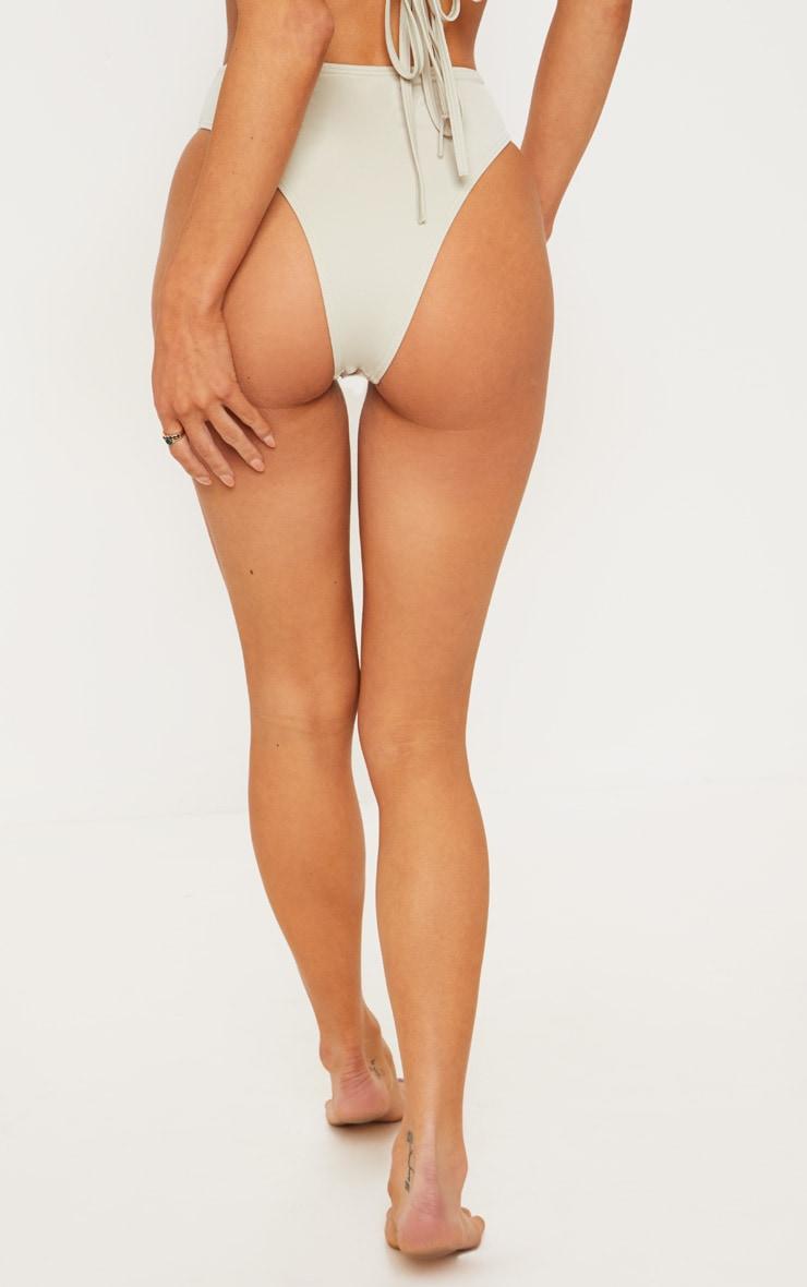 Sage Green High Waisted Cheeky Bum Bikini Bottom 4