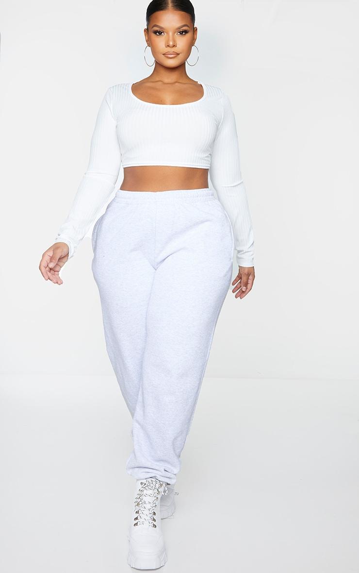 Plus Basic White Rib Long Sleeve Crop Top