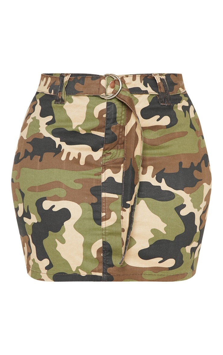 Plus Khaki Camo O-Ring Belted Denim Skirt  3
