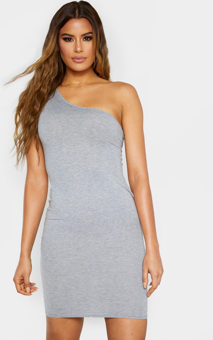 Tall Grey Marl One Shoulder Jersey Mini Dress 1