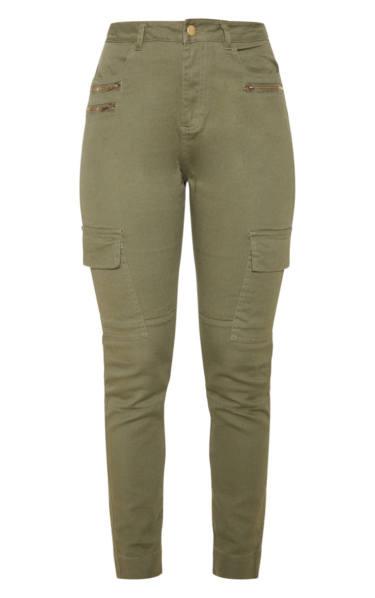 Soft Khaki Cargo Pocket Skinny Jeans 3