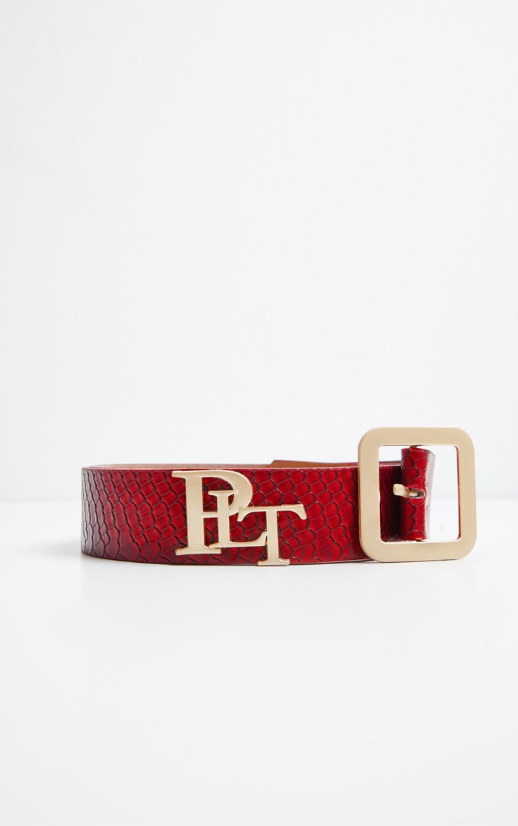 PRETTYLITTLETHING Logo Buckle Burgundy Croc Belt 3