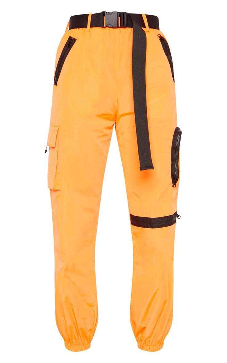 Neon Orange Shell Belted Pocket Detail Joggers 3