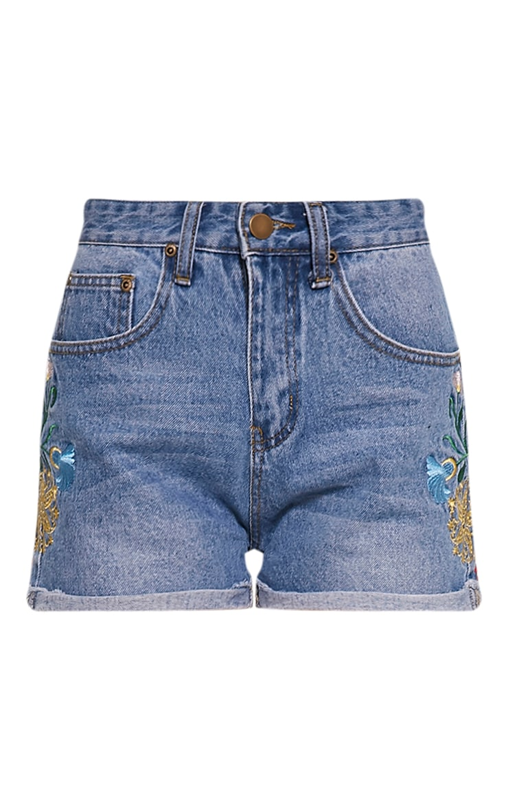 Kitana Mid Wash Embroidered Detail Denim Mom Shorts 3