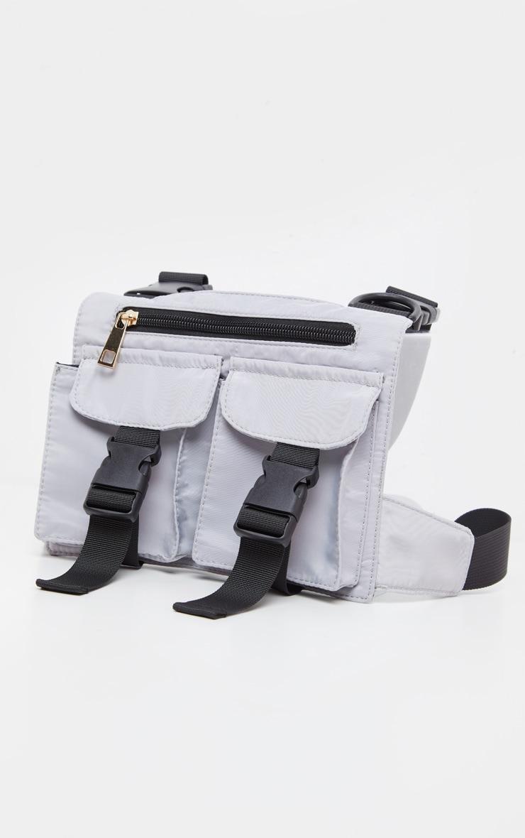 Grey Nylon Double Pocket Front Harness Bag 4