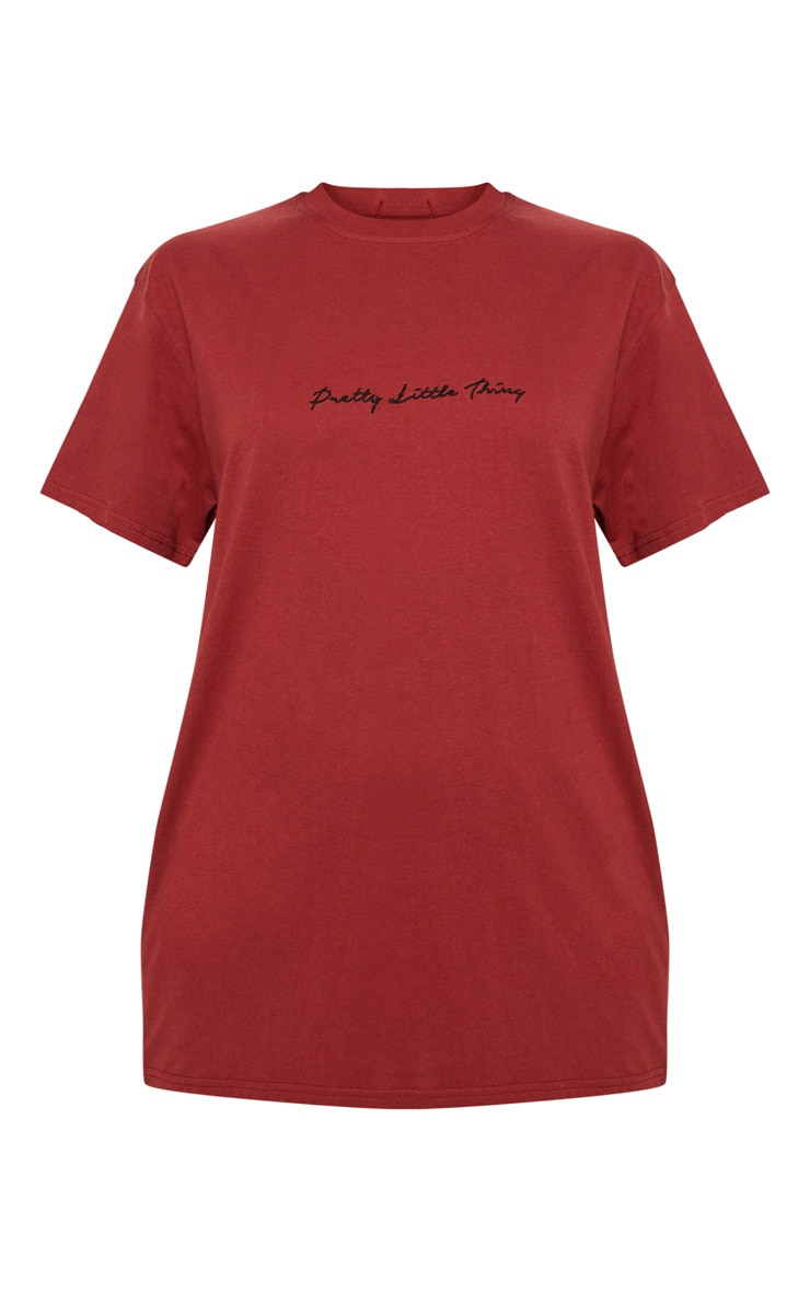 PRETTYLITTLETHING Burgundy Oversized T Shirt 3