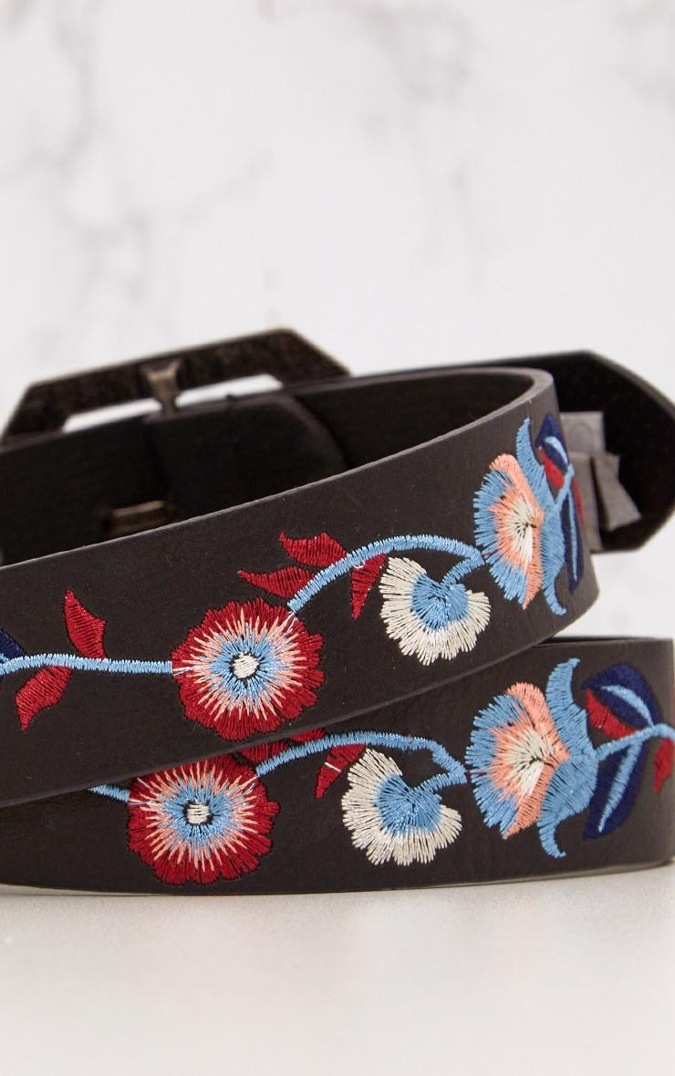 Lola Black Embroidered Belt 5
