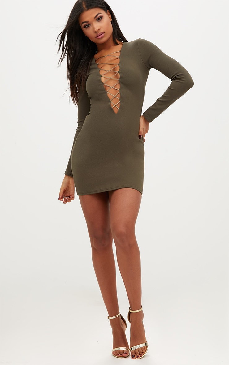 Olive Green Extreme Plunge Lace Up Bodycon Dress 4