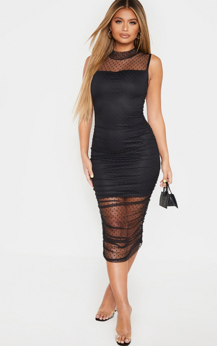 Black Dobby Mesh Ruched Midi Dress 4
