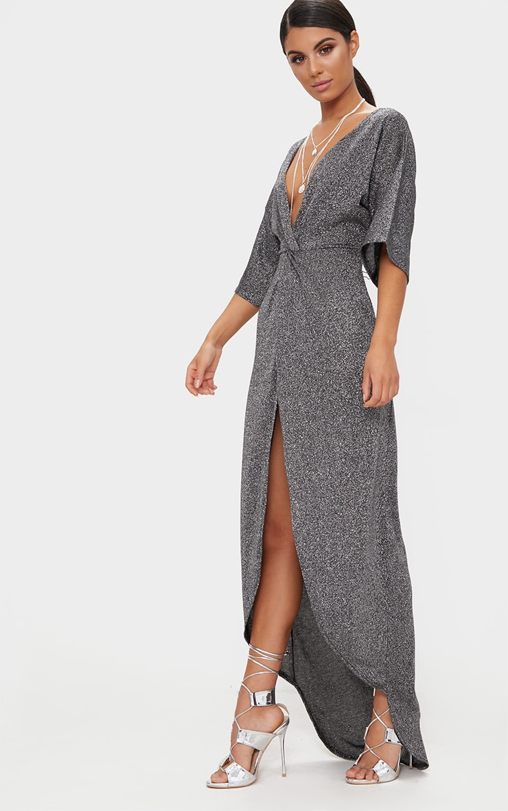 Silver Plunge Knot Detail Batwing Sleeve Extreme Split Maxi Dress 4