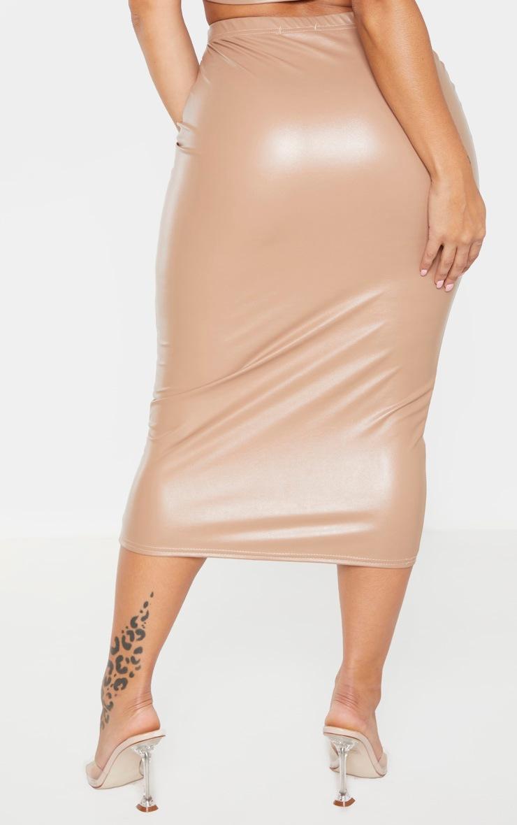 Shape Stone PU High Waisted Midi Skirt 3