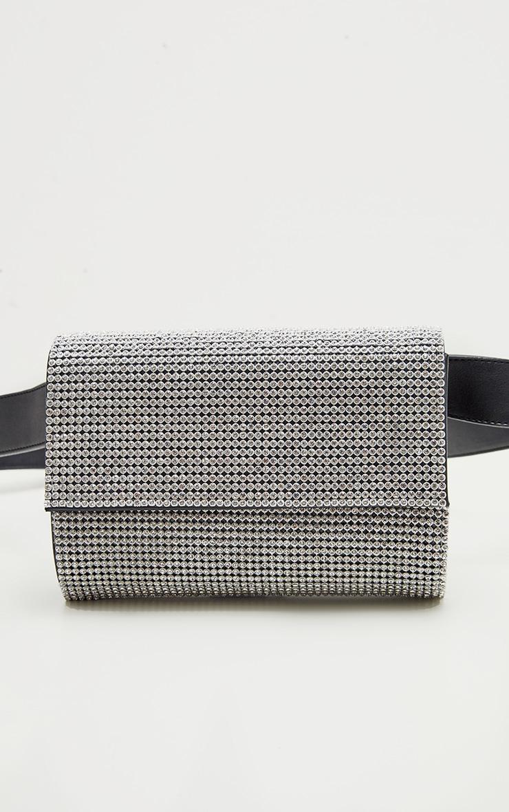 Black Diamante Belted Bum Bag 2