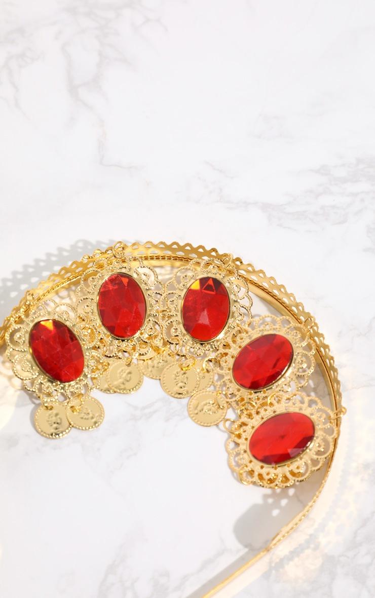 Red Gem Gold Tassel Headband 4