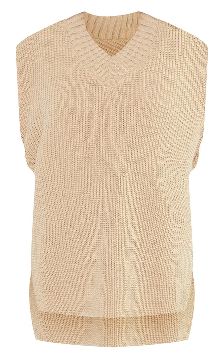 Petite Oatmeal V Neck Knitted Side Split Vest  5